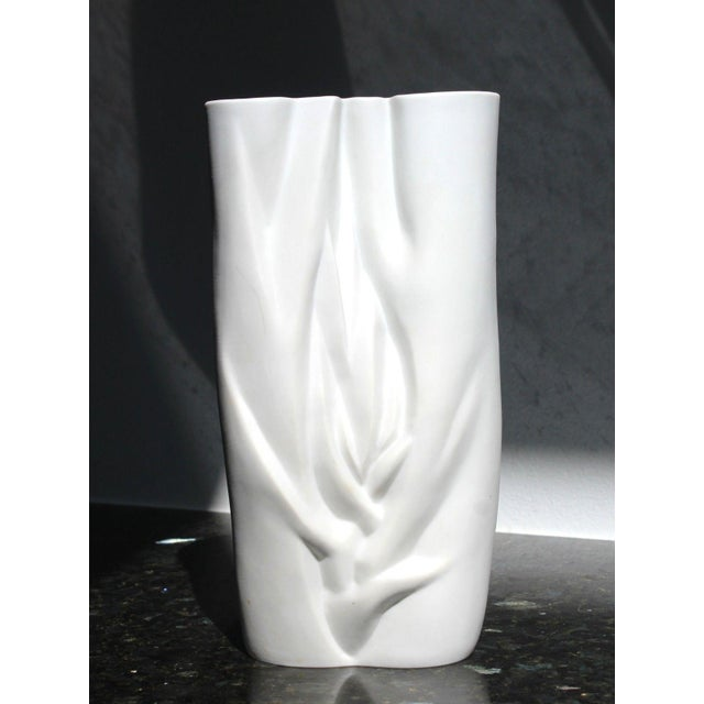 For your consideration is a phenomenal, white ceramic porcelain vase, with a beautiful design, stamped by Meissen. In...