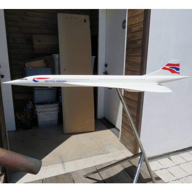 British Airways vintage large scale Concorde supersonic jet fiberglass model with white enamel finish, on a chrome-plated...