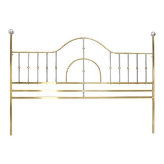Mid-Century Modern Brass and Chrome King Size Headboard For Sale