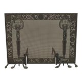 Image of American Arts and Crafts Wrought Iron and Bronze Fire Place Andirons and Screen For Sale