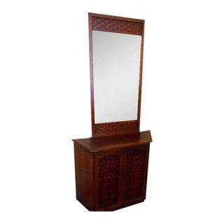 Mid Century Lane Table Console & Mirror Perception For Sale