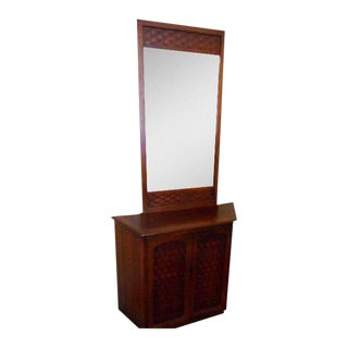 Mid Century Mirror Cabinet Console Table For Sale