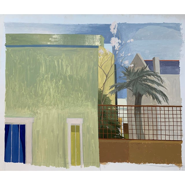 """Contemporary Celia Reisman """"Green St. Albano"""" Landscape Architecture Colorful Painting For Sale - Image 3 of 3"""