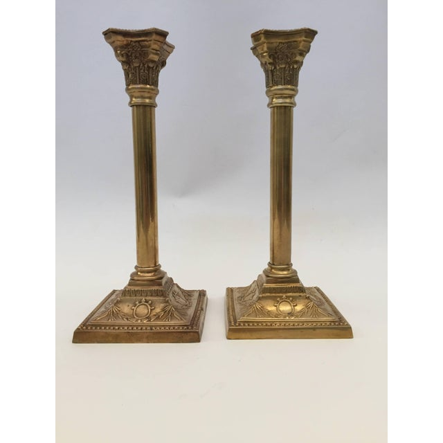 Georgian Pair of Brass Candlesticks For Sale - Image 3 of 10