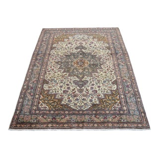 """Turkish Hand-Knotted Faded Low Pile Oushak Style Rug Distressed Area Rug - 5'1""""x 7' For Sale"""