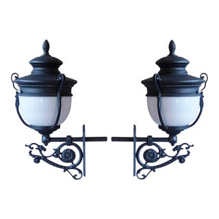 Late 20th Century Victorian Style Reproduction Black Cast Iron and Aluminum Exterior Lanterns - a Pair For Sale