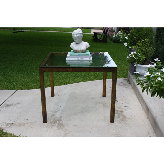 Vintage Modernist Gilt Metal Parsons Table with Thick Glass Top - Image 6 of 10