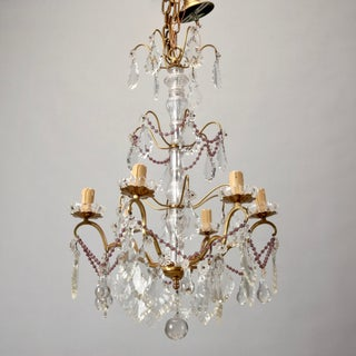Italian Six Arm Tiered Crystal Chandelier With Amethyst Beads Preview