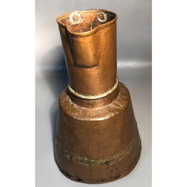 Copper Primitive 19c Pitcher Hand Hammered Copper Brass Large Moonshine Still Jug Kettle Pot Vase For Sale - Image 8 of 10