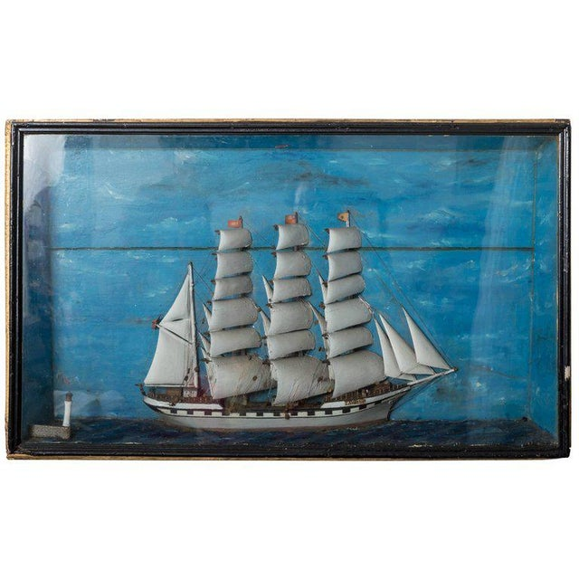French 19th Century French Ship Diorama 'Louise' Shadow Box For Sale - Image 3 of 3