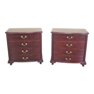 Georgian 4 Drawer Burl Walnut & Mahogany Nightstands - a Pair For Sale