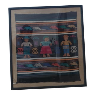 Latin American Framed Hand Stitched Textile