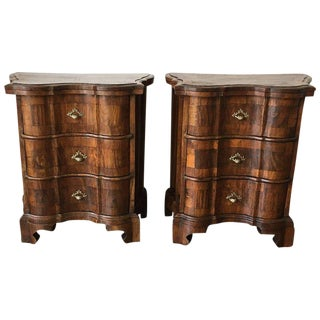 Italian Burl Walnut and Fruitwood Bedside Commodes - A Pair
