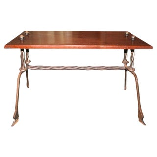 French Wood and Handwrought Iron Side Table For Sale