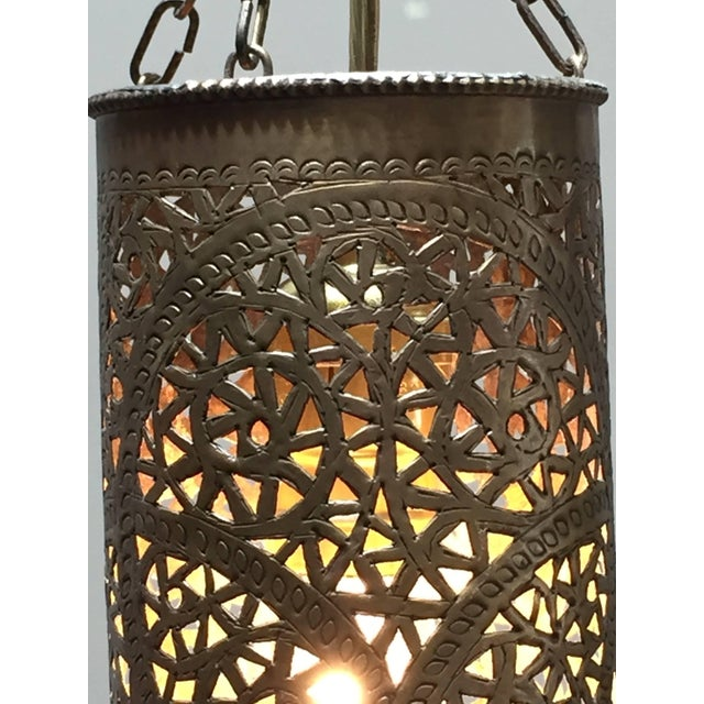 Pair of Moroccan Brass Pendants Lights with Moorish Filigree Designs For Sale - Image 10 of 13