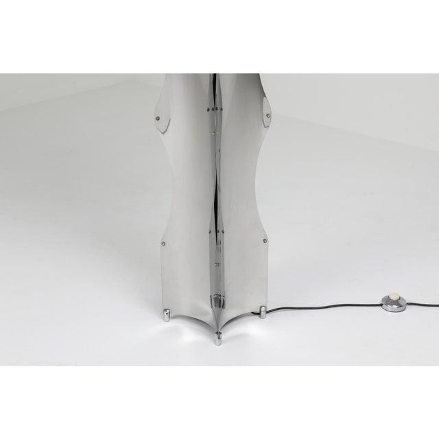 Maison Jansen chromed steel floor lamp Fits well in a metropolitan chic Maria Pergay inspired interior. Sculptural piece...