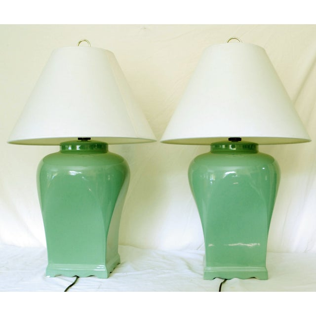 Vintage Celadon Asian-Style Lamps - A Pair - Image 2 of 4