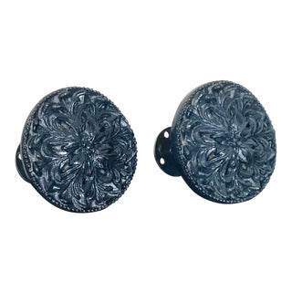 Vintage Blue Lacquer Finish Large Floral Curtain Tie Backs - a Pair For Sale