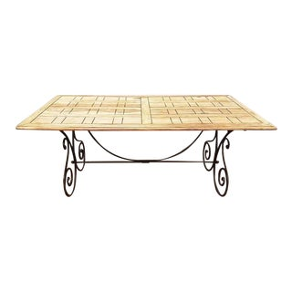 French Vintage Country Style Reclaimed Pine Wood Parquet Dining Table With Wrought Iron Base For Sale