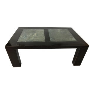 Asian Antique Black Lacquer & Soap Stone Coffee Table For Sale
