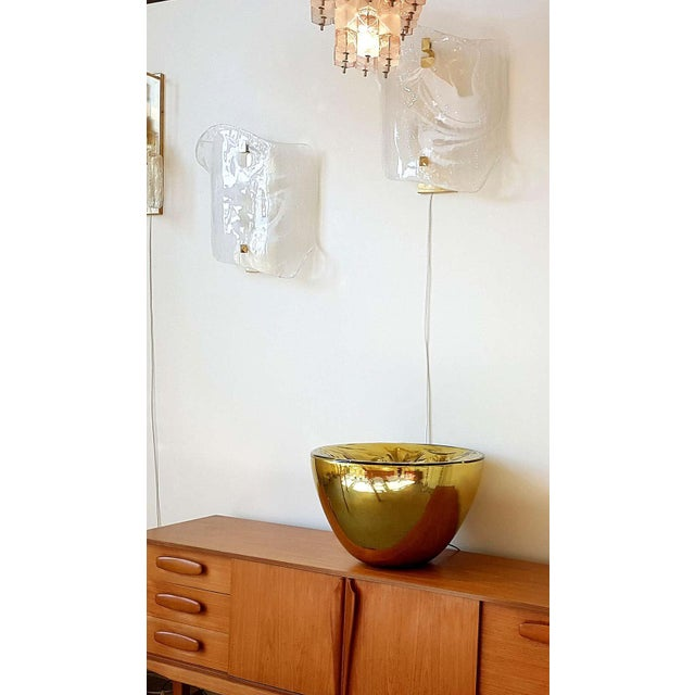 Mid-Century Modern Large Mid-Century Modern White/Transparent Veined Murano Glass Sconces - a Pair For Sale - Image 3 of 8