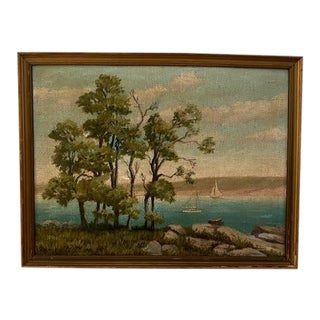 Vintage Waterscape With Sailboats by Ralph Hall For Sale
