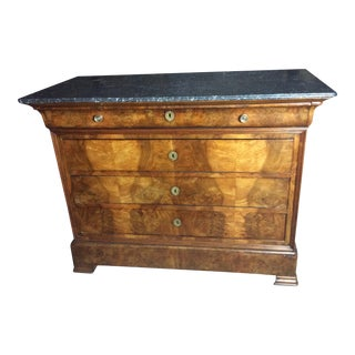 1820s Louis Philippe Mahogany Marble Top Four Drawer Commode