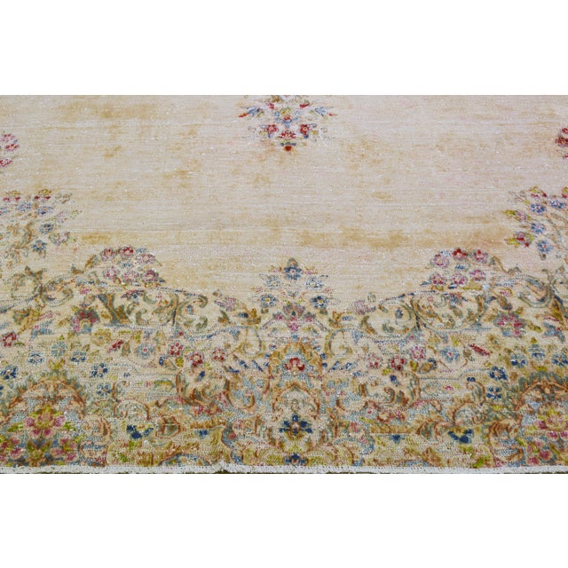 """1930s Vintage Persian Kerman Hand Knotted Organic Wool Fine Weave Rug,7'8""""x14'1"""" For Sale - Image 5 of 8"""