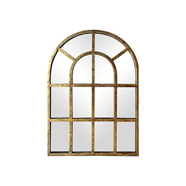 Gilt Finish Arched Metal Mirror - Pair - Image 1 of 7