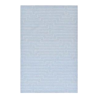"""Barry, Contemporary Blue 9' 0"""" x 12' 0"""" Handmade Area Rug For Sale"""