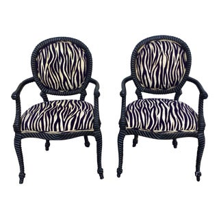 Animal Print Rope Twist Armchairs - a Pair