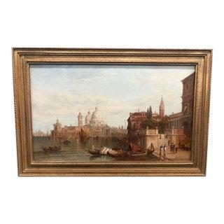 "Late 19th Century ""Santa Maria Della Salute, Venice"" Cityscape Oil Painting by Alfred Pollentin, Framed For Sale"