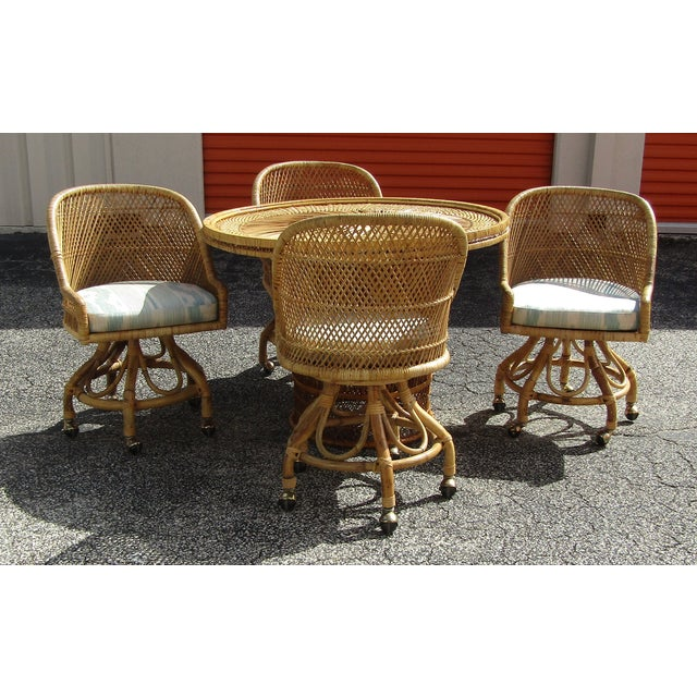 Boho Chic Rattan and Bamboo Dining Table and Four Chairs - 5 Pieces For Sale - Image 10 of 10