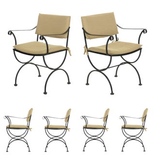 Set of Six Salterini Style Black Iron Patio Dining Chairs, Mid 20th Century For Sale