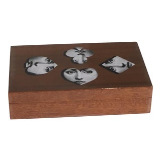 Fornasetti Milano Wooden Box for Playing Cards For Sale