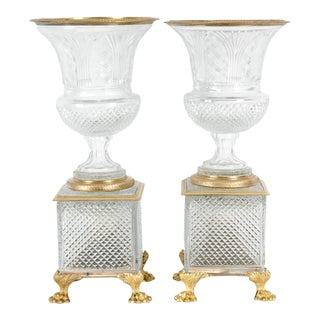 Late 19th Century Gilt Bronze / Cut Glass Vases / Centerpieces For Sale