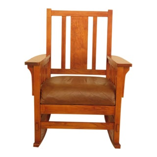 Vintage Restoration Hardware Mission Style Arts & Crafts Rocking Chair For Sale