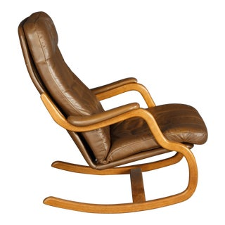 Midcentury Danish Lounge Chair With Ottoman and Leather Cushions For Sale