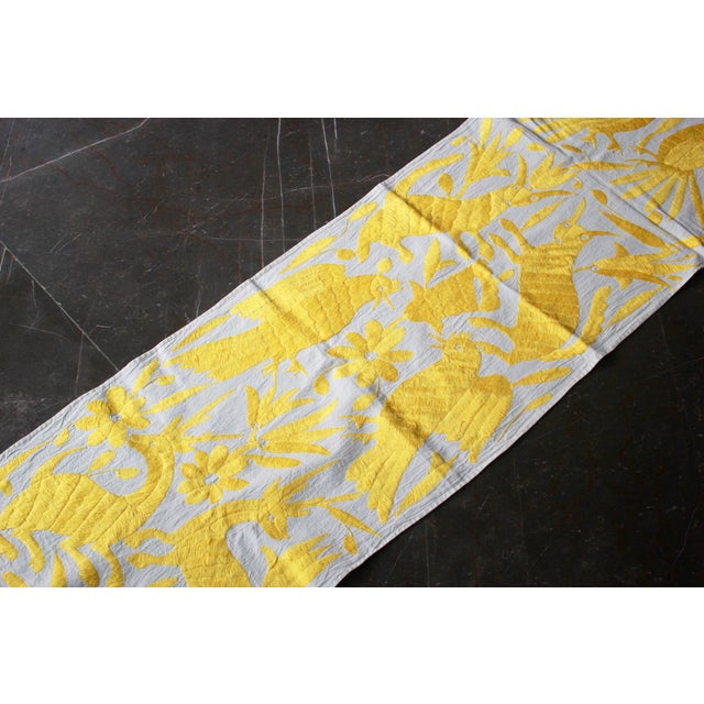 Boho Chic Mexican Hand-Woven Yellow Tenango Table/Bed Runner For Sale - Image 3 of 4