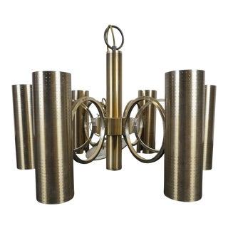 Lightolier Mid-Century Bronze Chandelier