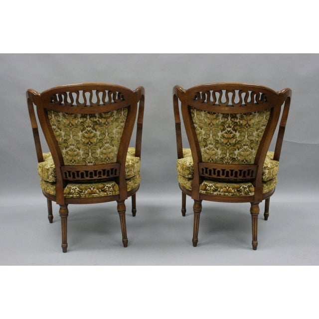 Item: Pair of Vintage Hollywood Regency French Style Squiggle Loop Back Living Room Chairs Details: Solid wood...