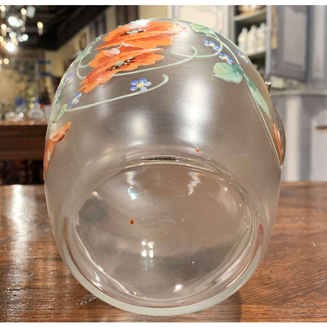 Early 20th Century Silver Plated and Painted Frosted Glass Candy Jar With Lid For Sale - Image 11 of 12