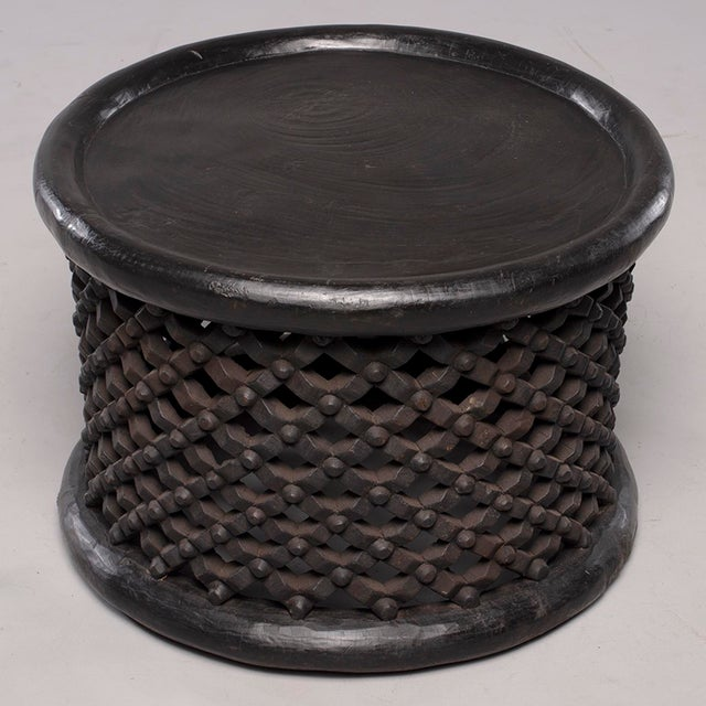 1980s African Bamileke Carved Wood Table or Stool For Sale - Image 5 of 8