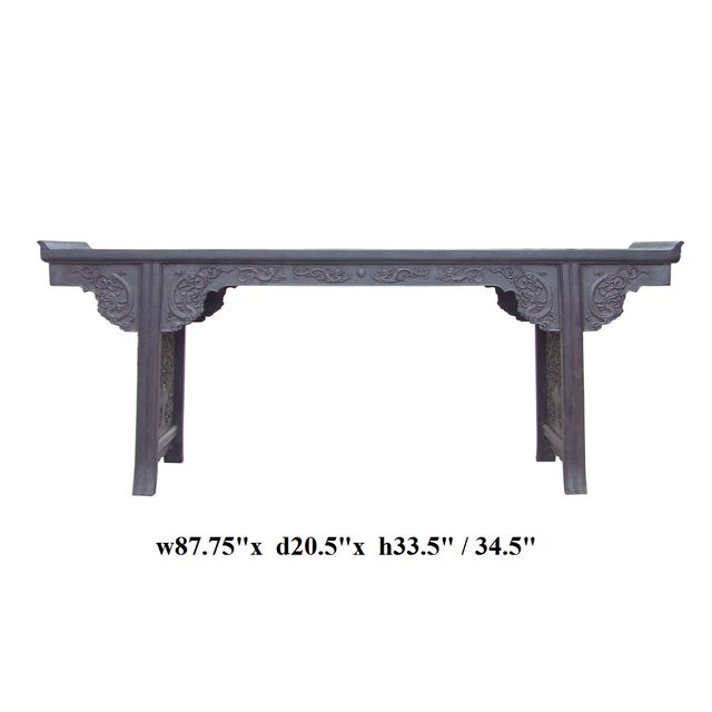 Black Rosewood Dragon Carving Altar Console For Sale - Image 8 of 8