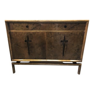 1950s Mid Century Modern Edmond Spence Burled Maple Chest Console Table For Sale