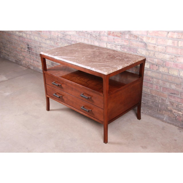 Baker Furniture Modern Mahogany Marble Top Buffet Server For Sale In South Bend - Image 6 of 13