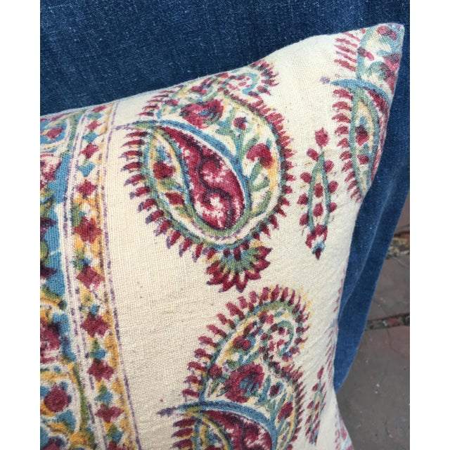 1970s 1970's Indian Hand-Blocked Textile Pillow For Sale - Image 5 of 7