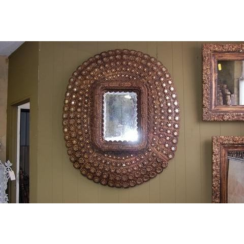 Asian Large Oval Peacock Mirror For Sale - Image 3 of 3