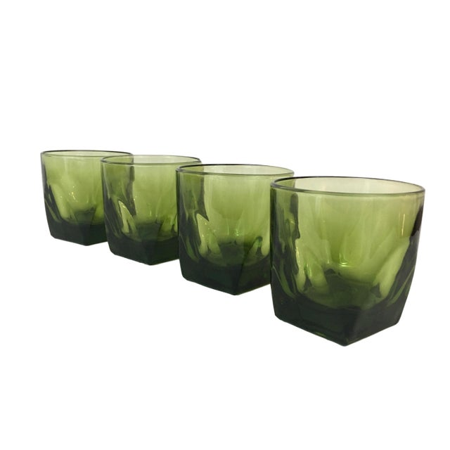 1970s Hazel Atlas Avocado Whiskey Glasses - Set of 4 For Sale - Image 5 of 5