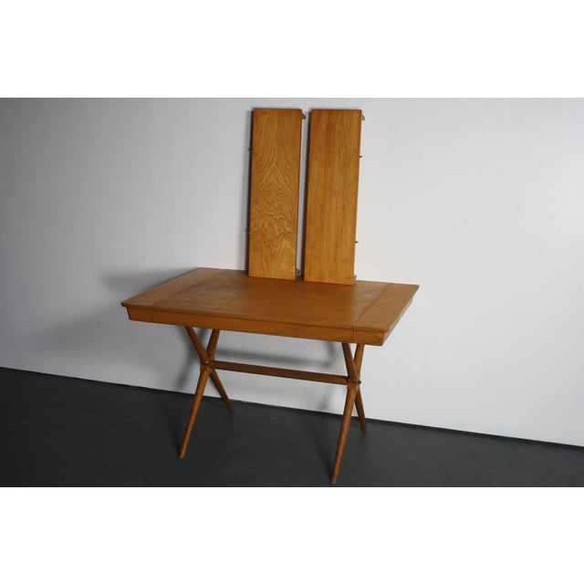 Walnut Dining Table X Base, Manner of Widdicomb For Sale - Image 9 of 10